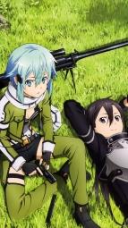 297217 gun kirito sinon sword_art_online thighhighsi_