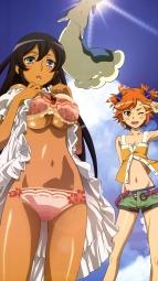 288328 bra captain_earth dress kazui_hiroko mutou_hana pantsu skirt_lift underboob yomatsuri_akarii_