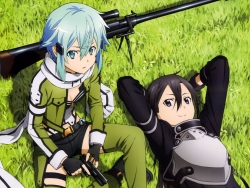 43_297217 gun kirito sinon sword_art_online thighhighs