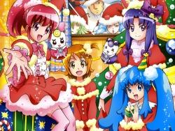 43_298060 aino_megumi calendar christmas gura-san heels hikawa_iona oomori_yuuko pretty_cure ribbon_(precure) satou_masayuki shirayuki_hime_(precure) thighhighs