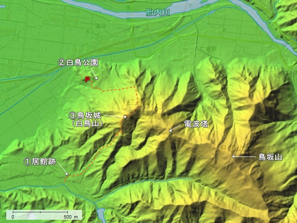 鳥坂城地形図