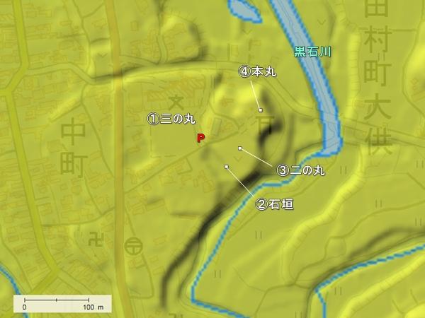 守山城地形図