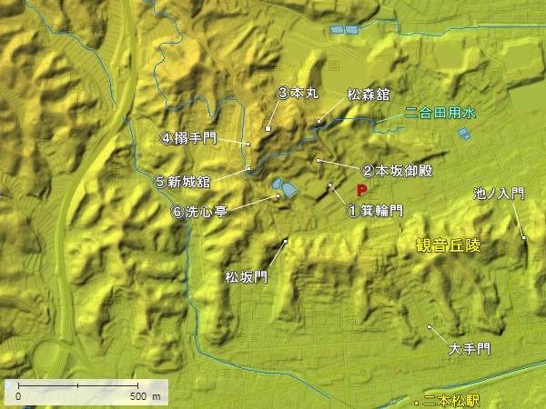 二本松城地形図