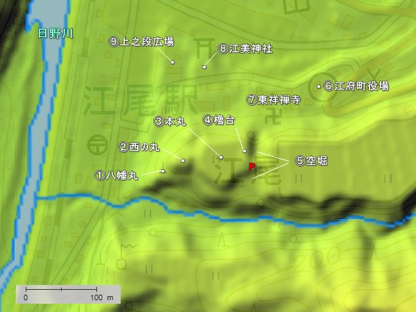 江美城地形図