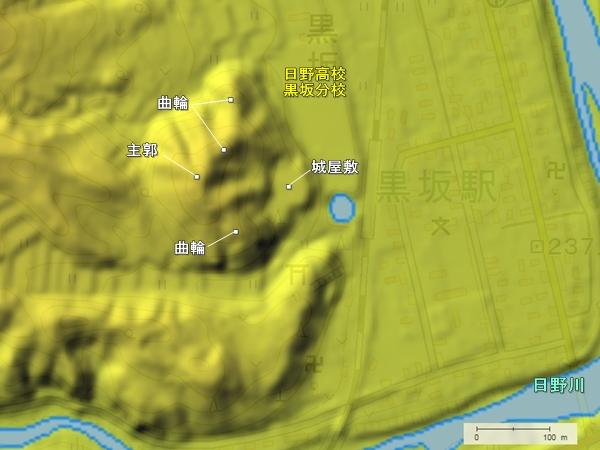 鏡山城地形図