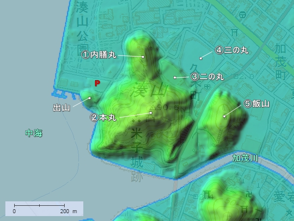 米子城地形図