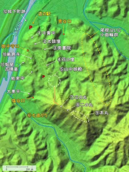 月山富田城地形図