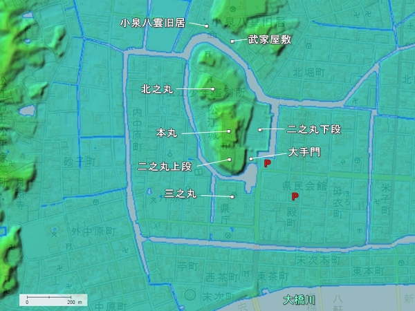 松江城地形図