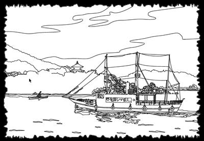 イラスト鞆の浦…弁天島と平成のいろは丸(ワイヤーフレーム未完成)