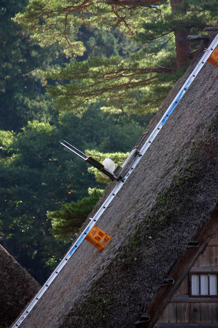 世界遺産 白川郷 ~ 明善寺郷土館 (Myozenji museum) ~茅葺き屋根修復作業 風景 ③