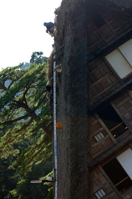 世界遺産 白川郷 ~ 明善寺郷土館 (Myozenji museum) ~茅葺き屋根修復作業 風景 ⑥