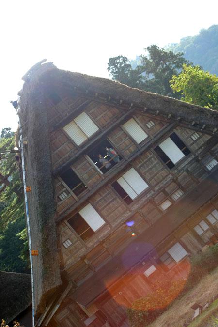 世界遺産 白川郷 ~ 明善寺郷土館 (Myozenji museum) ~茅葺き屋根修復作業 風景 ⑨