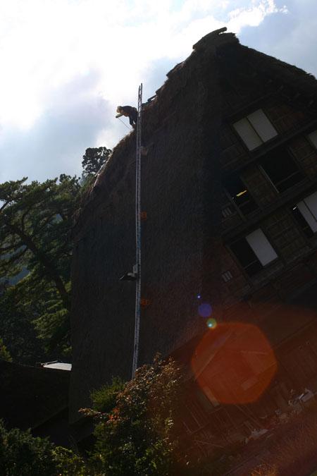 世界遺産 白川郷 ~ 明善寺郷土館 (Myozenji museum) ~茅葺き屋根修復作業 風景 ⑫