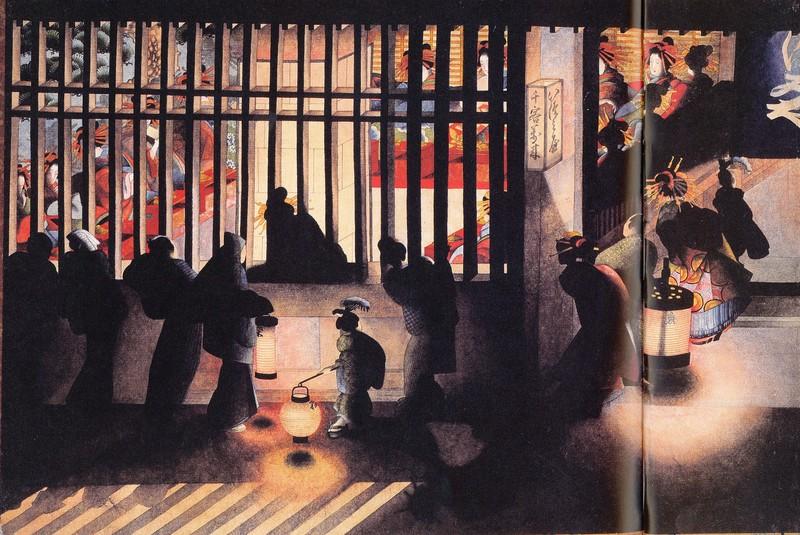 葛飾応為「吉原格子先の図」