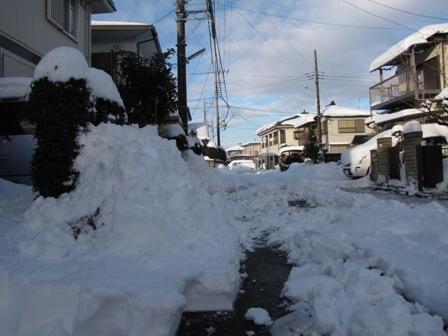 雪かき作業途中の道路
