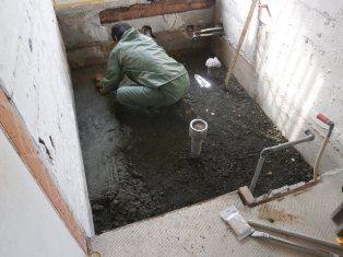 浴室土間コンクリート打設