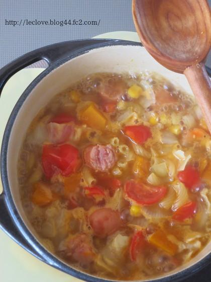 カレー風味のスープパスタ