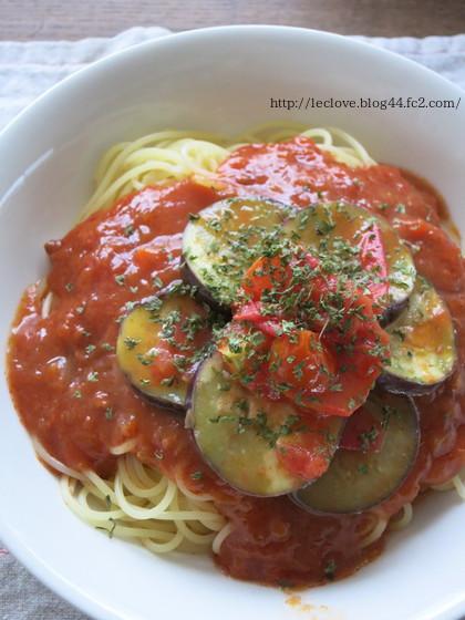 蒸し茄子トマトのせミートソース