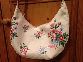 リネン花柄みかづきバッグ