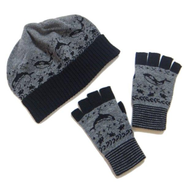 シャチの手袋と帽子。マフラーもあるよ。