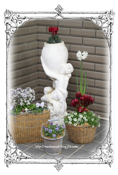 玄関の花1月末