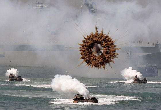 A mid-air explosion over a mock landing operation in Seoul South Korea