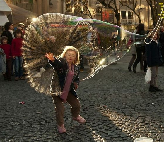 The moment a huge bubble bursts in Paris France