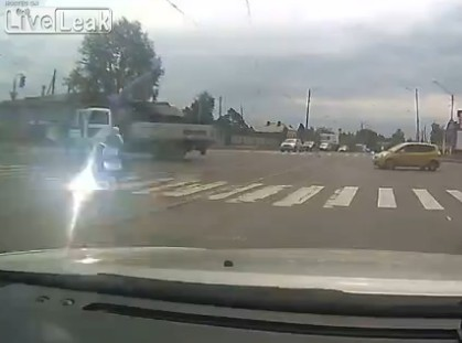 Woman Almost Get Electrocuted While Crossing The Road