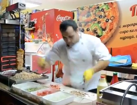 Shawarma Master Works To Mortal Kombat Theme Song