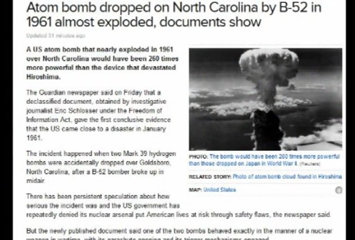Atom bomb dropped on North Carolina by B-52 in 1961