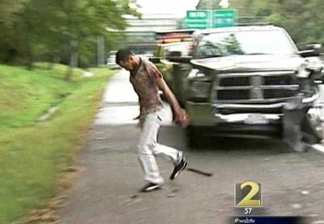 catches driver smashing into cars