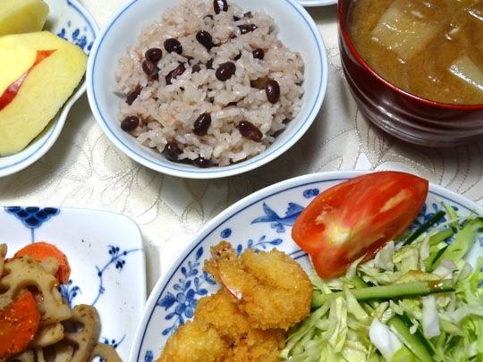 海老フライと赤飯