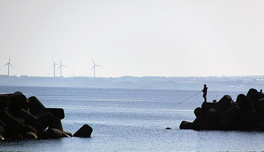 釣り人と風力発電