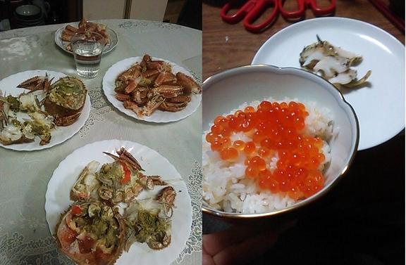 食卓のカニ201304