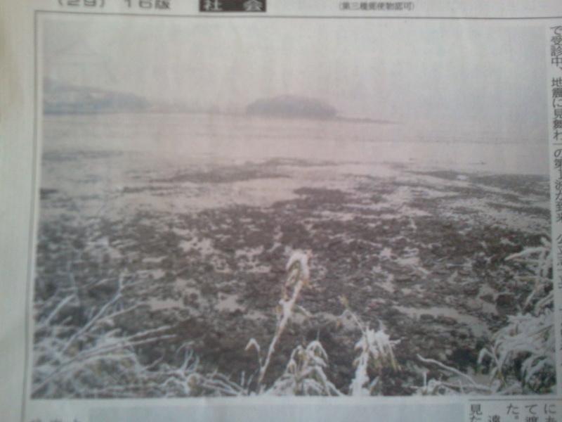 津波直前の海底が露出した海
