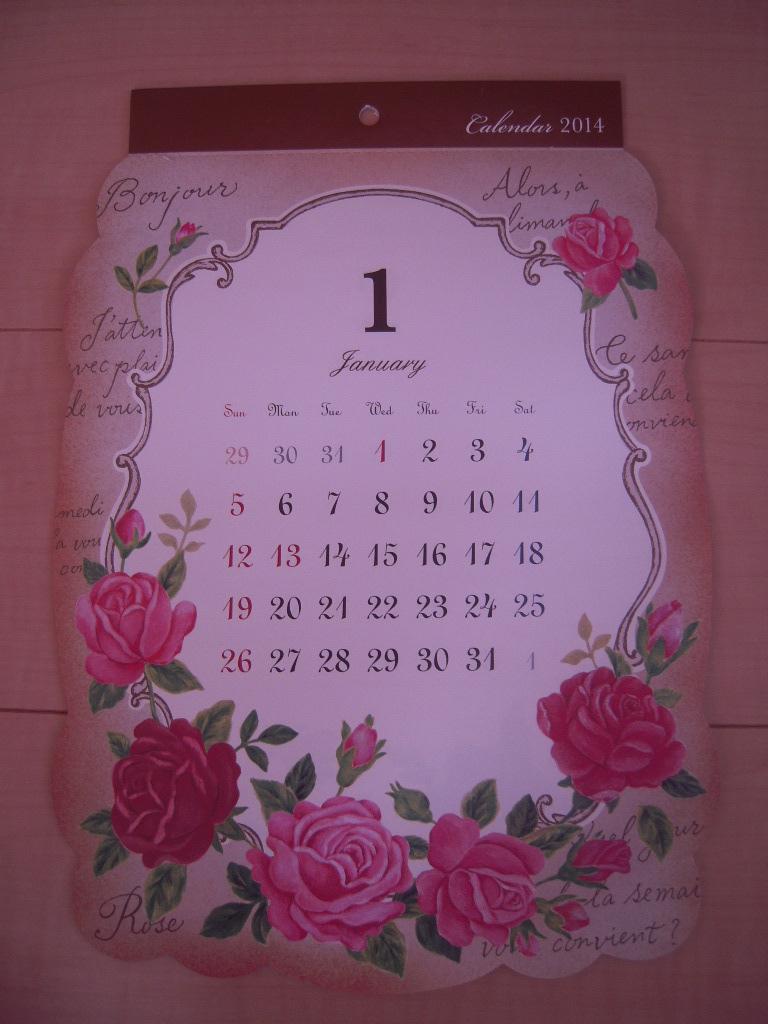 セリア ☆ アンティークフラワーカレンダー2014☆1
