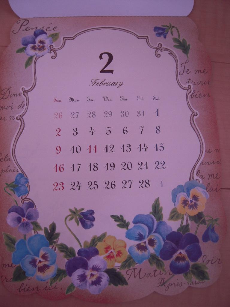 セリア ☆ アンティークフラワーカレンダー2014☆2