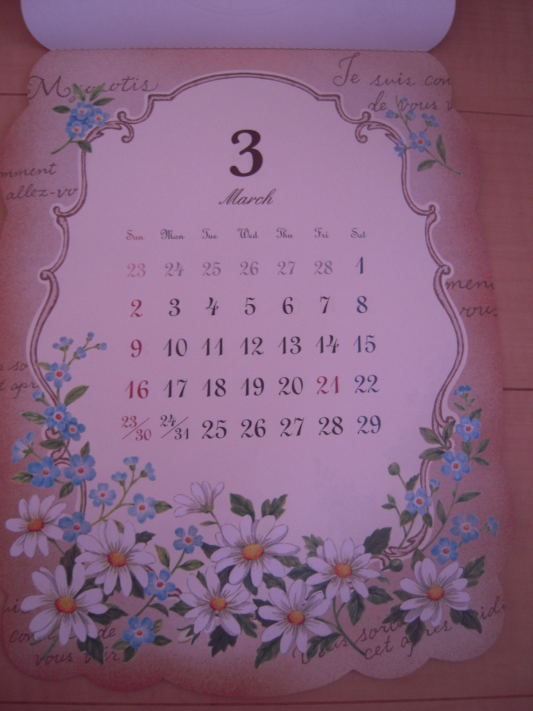 セリア ☆ アンティークフラワーカレンダー2014☆3
