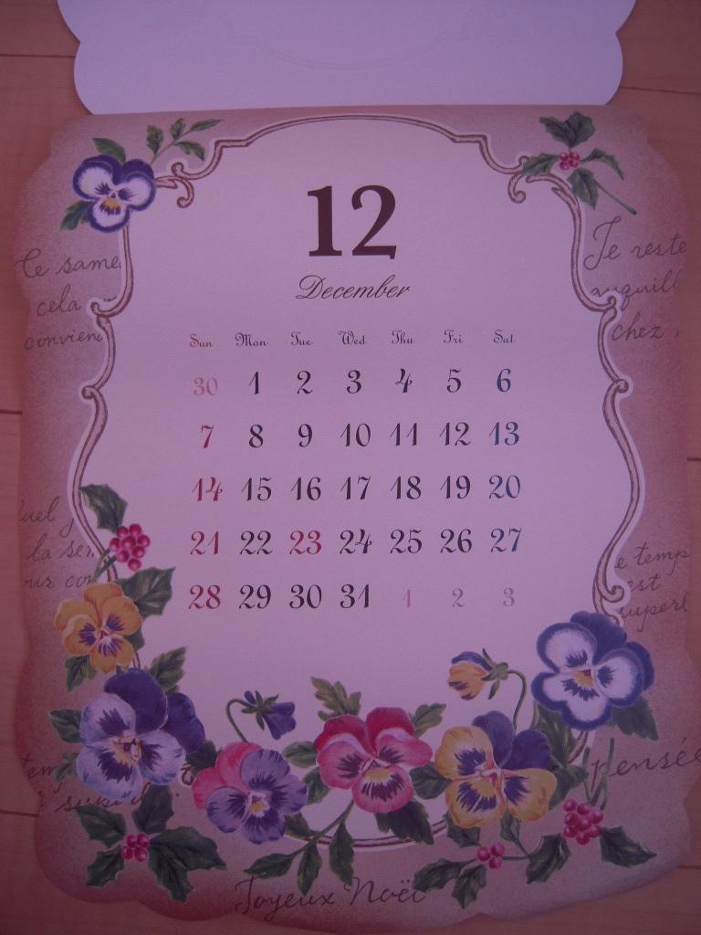 セリア ☆ アンティークフラワーカレンダー2014☆4