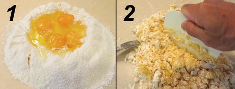 粉と卵を混ぜる