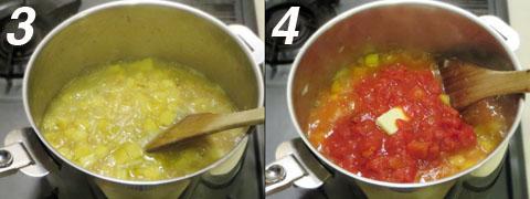 ブイヨンとトマトの水煮を加える