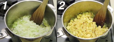 玉ねぎとサツマイモを炒める