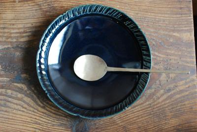 瑠璃釉シノギ7寸皿