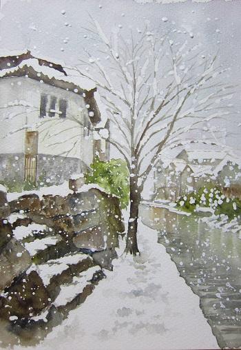 八幡堀 石段の雪が気に入った