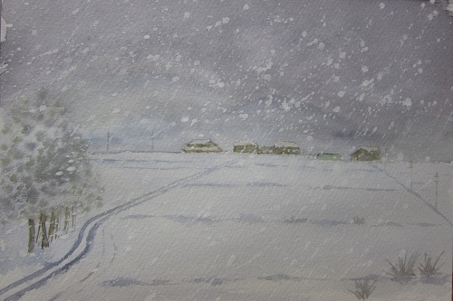 吹雪の近江平野