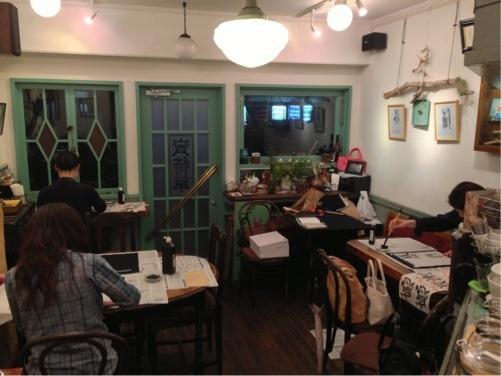 夕幻書道教室:カフェ教室練習風景2