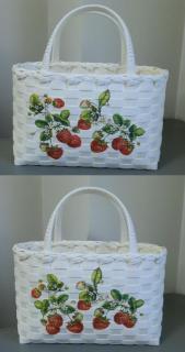 苺柄プリント籠