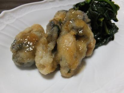 牡蠣のソテーとほうれん草の炒め物