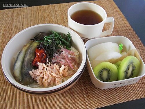 焼き茄子とツナの素麺弁当01