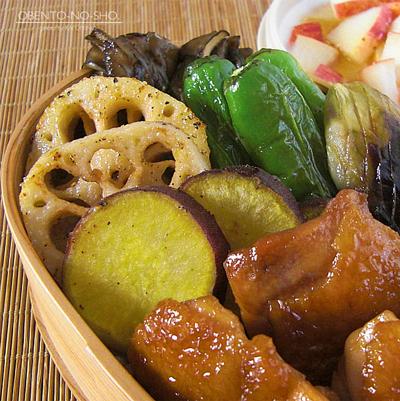 秋野菜と鶏の黒酢照り焼き弁当02